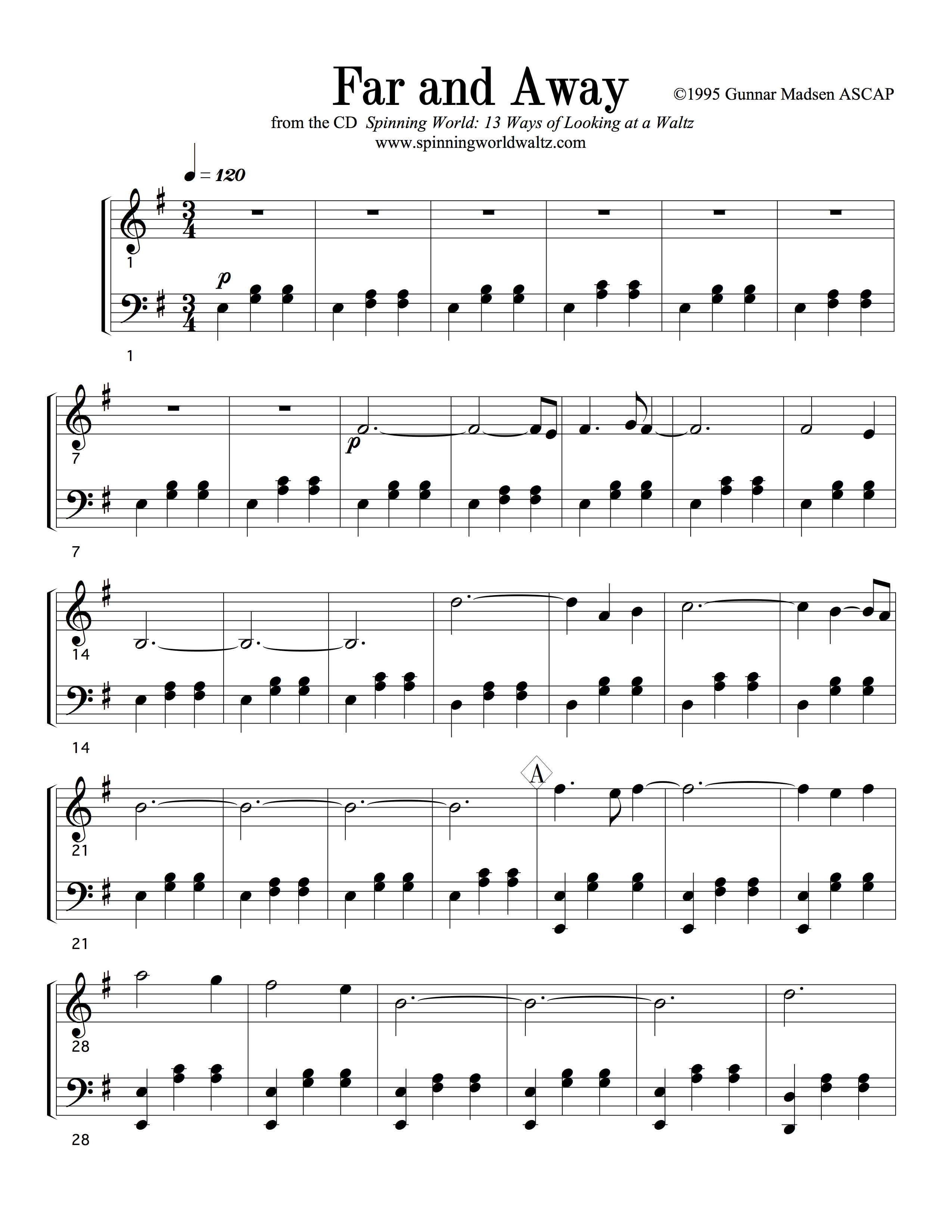 Far and Away Piano Solo (from Spinning World)